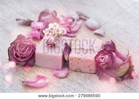 Still Life With Natural Soap And Purple Roses For Beauty Care
