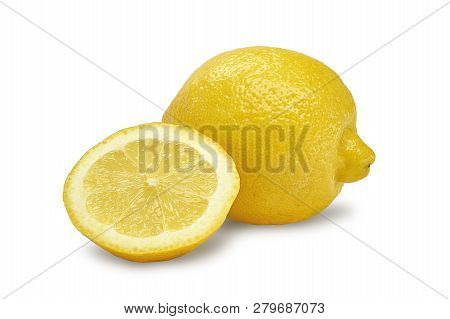 Lemon. Fresh Lemon Isolated On White. Lemon In A Cut