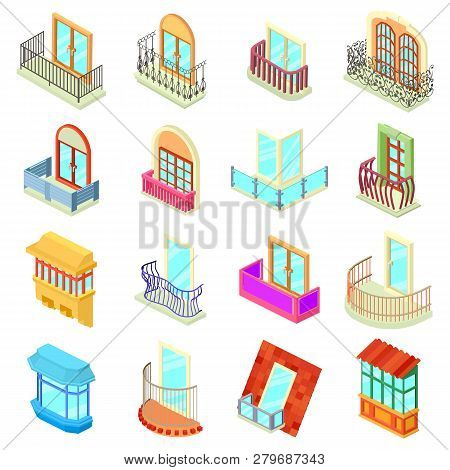 Balcony Window Forms Icons Set. Isometric Illustration Of 16 Balcony Window Forms Icons Set Icons Fo