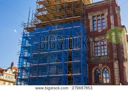 Prague, Czech Republic - June 7, 2017: Tower Under Reconstruction, Prague Old Town