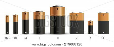 Alkaline Batteries Realistic Style Set Of Different Size