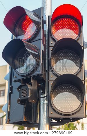 Traffic Lights At The Intersection Of Gujrat City