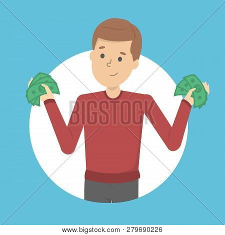 Man With Money. Happy Successfull Man Hoding Money