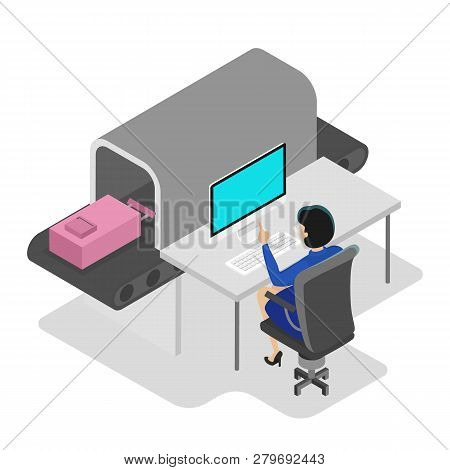Airport Conveyor Belt. Baggage Security Scan Control