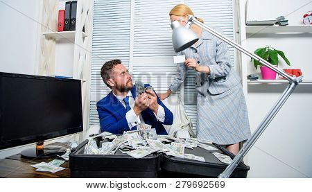 Create Bank Account. Man Business Owner Sit Office Pile Of Money. Bank Assistant Offer Plastic Card.