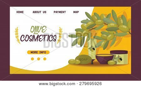 Olive Vector Oliveoil Cosmetic Bottle Natural Olivaceous Oil Landing Page Backdrop Set Of Web-page I