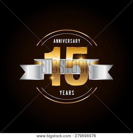 15 Years Anniversary Celebration Logotype. Golden Anniversary Emblem With Ribbon. Design For Booklet