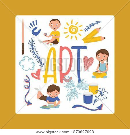 Drawing Kids Vector Boy Girl Character Painting In Childish Art-school With Artist Tools Paint Brush