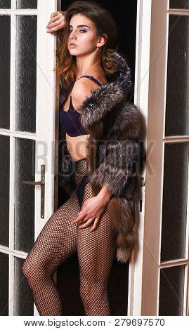 Girl You Dream About. Fashion Lady Enjoy Her Seductiveness. Seduction Art Concept. Woman Seductive A