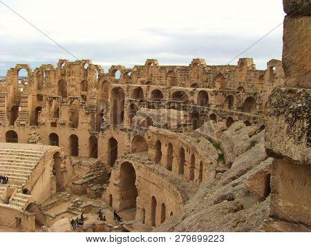 El Djem, Tunisia - April 14, 2018: Largest Coliseum In North Africa. El Djem,tunisia, Unesco, World