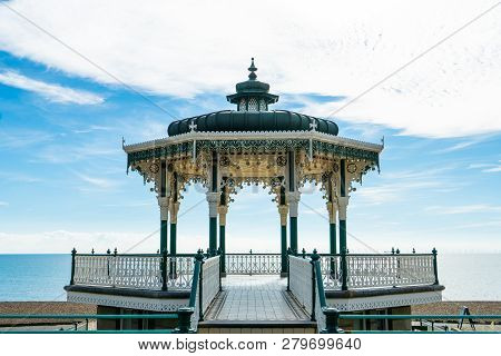 Brighton Pier Beach With Victorian Bandstand Octagonal Pavilion Chinese And Indian Style In The Back