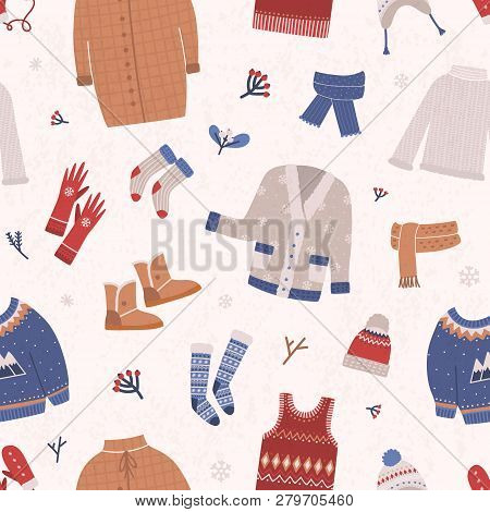 Winter Seamless Pattern With Warm Knitted Clothes On Light Background. Backdrop With Woolen Seasonal