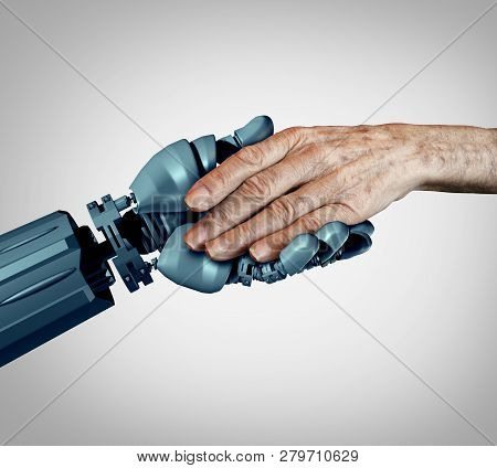 Senior Care And Future Technology As An Old Alzheimer Patient Or Elderly Dementia Homecare As A Supp