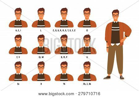 Collection Of Male Character S Lips Or Mouth Positions For Various Sounds. Animation Set Of Young Ma