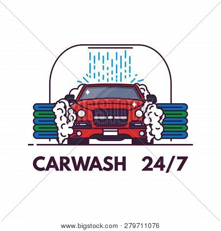 Carwash Line Style Banner. Front View Of Luxury Car On Carwash. Clean Service Banner. Automobile On