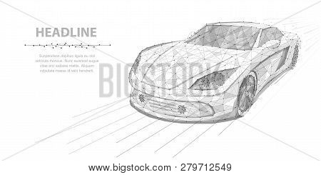 Car. Vector Polygonal Wireframe High Speed Motion Car Isolated On White Illustration. Abstract Backg