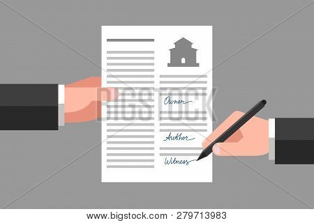 Property Release In One Hand, Another Hand Is Signing This Document As Witness