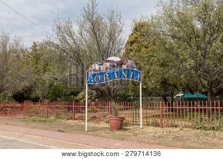 Orania, South Africa, September 1, 2018:  A Welcome Sign At The Entrance Of Orania In The Northern C