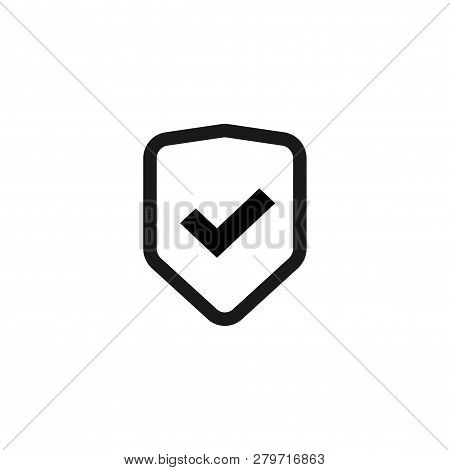 Shield Icon Vector Isolated, Flat Line Outline Safety Symbol With Checkmark, Warranty Or Protect Sig