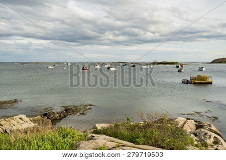 The View And The Boats In Cape Porpoise, Maine Usa