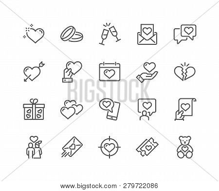 Simple Set Of Love Related Vector Line Icons. Contains Such Icons As Romantic Letter, Happy Couple,