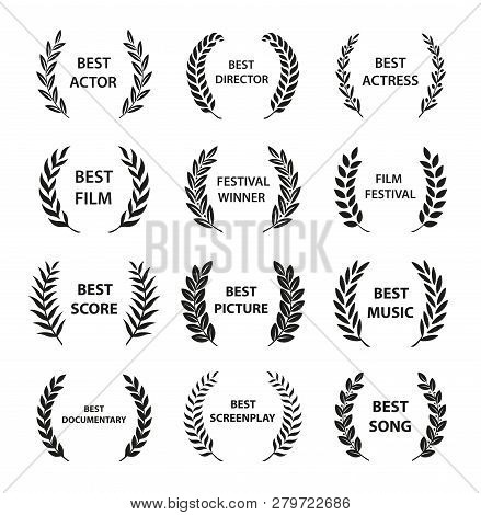 Film Awards. Set Of Black And White Silhouette Award Wreath. Vector Illustration.