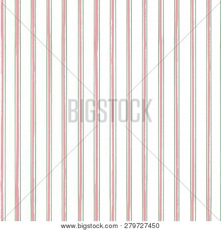 Classic Stripes In Pink And Green With A Contemporary Painterly Twist On Neutral White Background. S