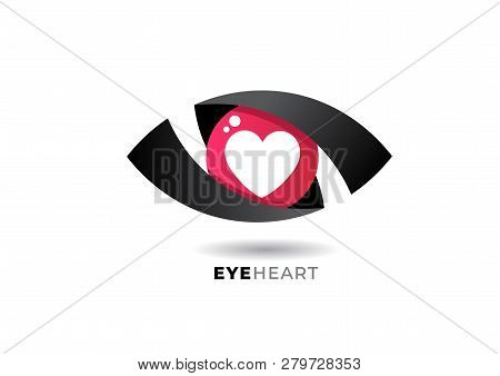 Heart In Eye Logo Or Icon Abstract Vector