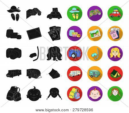 Family Holiday Black, Flat Icons In Set Collection For Design. Recreation And Equipment. Vector Symb