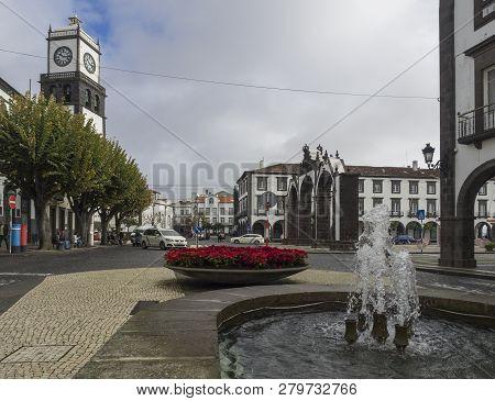 Portugal, Ponta Delgada Sao Miguel, Azores, December 21, 2018: Main Square Of Ponta Delgada And View