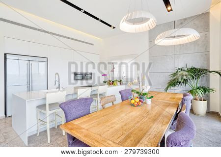 Modern Design Luxury White Kitchen With Marble Island And Dinner Table