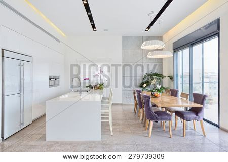 Modern Design Luxury Kitchen With Marble Island And Big Dinner Table
