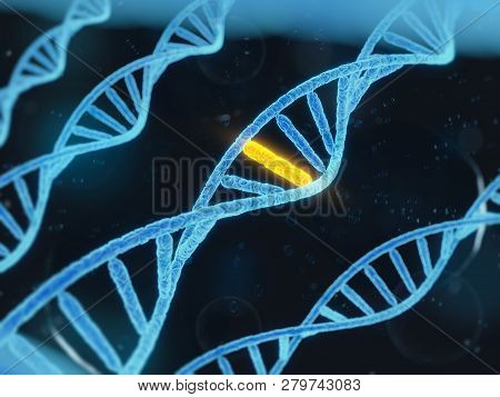 Genome Dna 3d Illustration. Dna Structure. Genome Sequencing Concept Of Gmo And Genome Editing. Phar