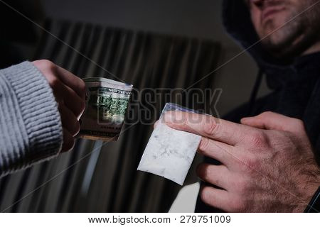 Drug Trafficking, Crime, Addiction And Sale Concept - Close Up Of Addict Buying Dose From Drug Deale