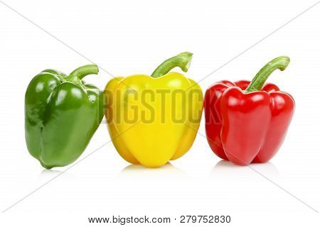 Three Colorful Bell Peppers Isolated On White