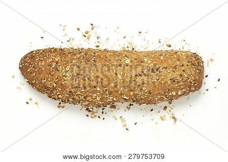 Whole Multigrain Bread On White, Top View