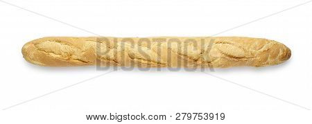 Whole Baguette Isolated On White, Top View