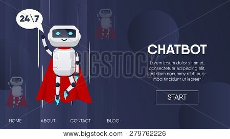 Superhero Flying. Chatbot Business Concept. Chatbot, Artificial Intelligence, Customer Support, Hotl