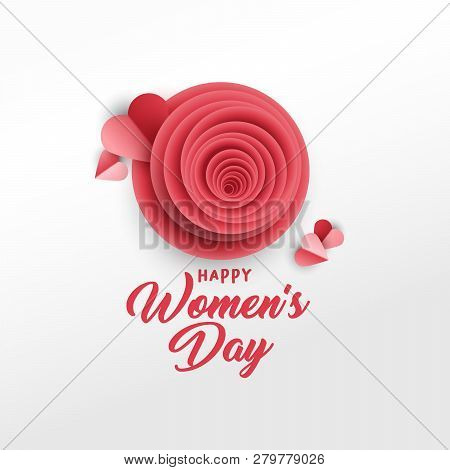 Happy Womens Day Greeting Card Vector Template. Rose Bud, Red Hearts Paper Cut Composition. Illustra