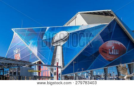 Atlanta, Georgia - January 21, 2019: Superbowl Liii Will Be Played At Atlantas Mercedes-benz Stadium