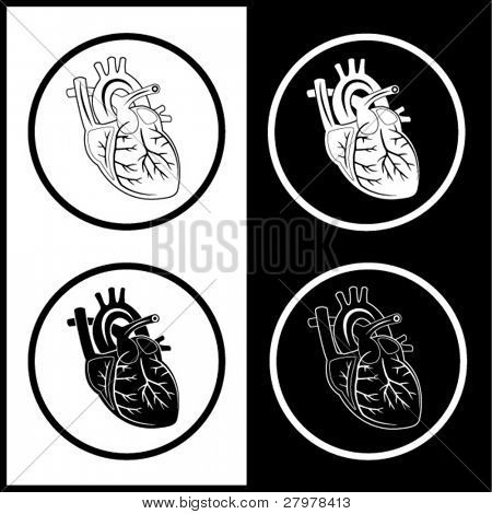 Vector heart icons. Black and white. Simply change.
