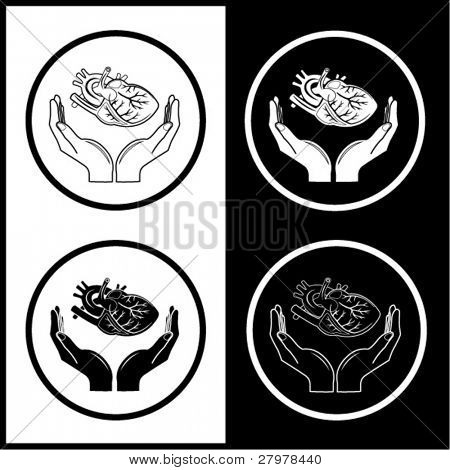 Medical icons. Protection of heart. Black and white. Simply change.
