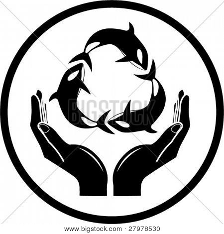 Vector killer whale and hands icon. Black and white. Simply change.