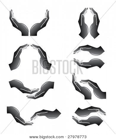 Vector hands icons. Black and white. Simply change.