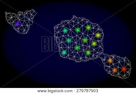 Mesh Vector Map Of Tahiti And Moorea Islands With Glare Effect On A Dark Background. Light Spots Hav