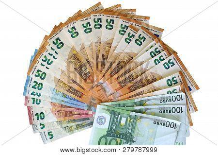 Euro Money Notes. Fan Of 100, 50, 20, 10, 5 Euro Isolated On White Background.