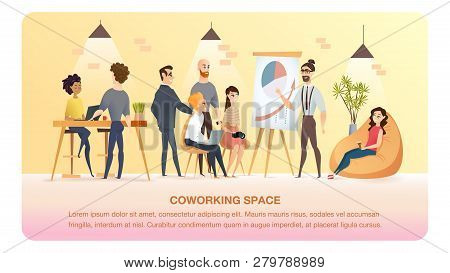 Character Work And Study In Coworking Area Banner. Smiling Freelancer Or Young Coworker Businessman
