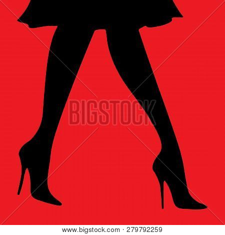 Vector Digital Illustration Female Sexy Legs In Heels In A Skirt On A Red Background