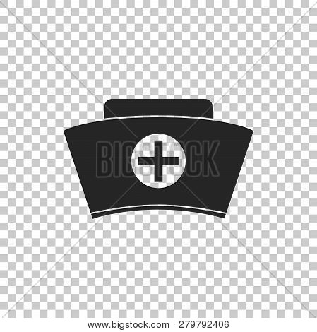 Nurse Hat With Cross Icon Isolated On Transparent Background. Medical Nurse Cap Sign. Flat Design. V