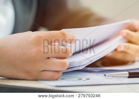 Accounting Planning Budget Concept : Business Woman Offices Working For Arranging Documents Unfinish